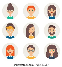 Set of avatars. Male and female characters. People's faces, man, woman, girl, boy, person, user. Modern vector illustration flat style