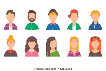 Set of avatars. Male and female characters. People's faces, man, woman, girl, boy, user, person. Fashion and style. Modern vector illustration flat style