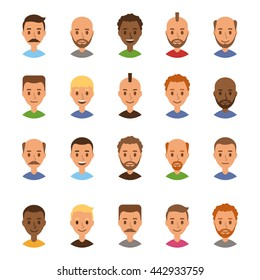Set of avatars men. User icon. Faces of cartoon characters