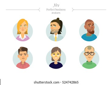 The set of avatars people with different races. A variety of emotions and facial expressions. The different skin and hair color.