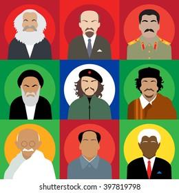 Set avatars revolutionaries persons. Karl Marx, Vladimir Lenin, Joseph Stalin, Ruhollah Khomeini, Ernesto Che Guevara, Muammar Gaddafi, Mahatma Gandhi, Mao Zedong, Nelson Mandela