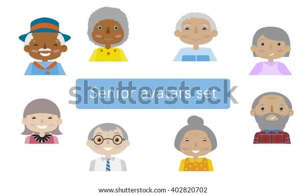 Set Avatars Senior Citizens Flat Cartoon Stock Vector