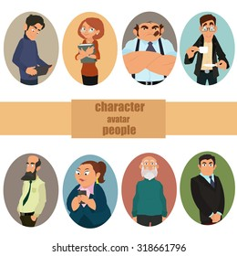 Set of avatars. Vector illustration, flat icons. Characters for web. male and female character faces avatars.