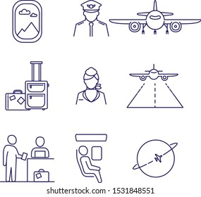 Set of aviation icons. Outline illustration. Vector icons of airplane, pilot, cabin crew.