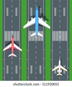 Set of aviation vector airplanes on runways illustration. Plane, airport, takeoff, grass, marking, lights. Vector informative poster, banner illustration. For airport hall or website about airplanes.
