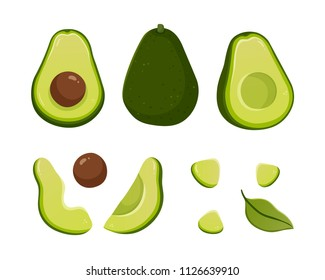 Set of avocado illustrations isolated on white background. Slice and whole fruit, seed, leaf. Vegan food vector icons in cute cartoon style.
