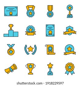 Set of Award icon. Award medal pictograms pack symbol template for graphic and web design collection logo vector illustration