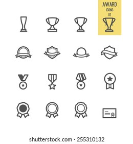 Set of award icon. Vector illustration.