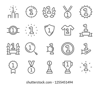 set of award line icons, such as star, champion, prize, acheivement, winner, trophy, glory, certificate, one ,first