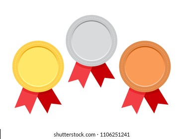 Set of award medals with red ribbon. Gold, silver and bronze. Vector illustration