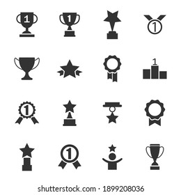Set with award, award with number 1, one, trophy cup, trophy cup with star winner medal, trophy star, user with rating vector icon