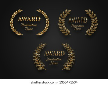 Set of award sign with laurel wreath -  isolated on black background. Award sign vector set.