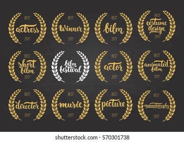 Set of awards for best film, actor, picture, animated, costume design, cinematography, actress, director, music and winner for movie festival with wreath and 2017 text isolated on the black chalkboard