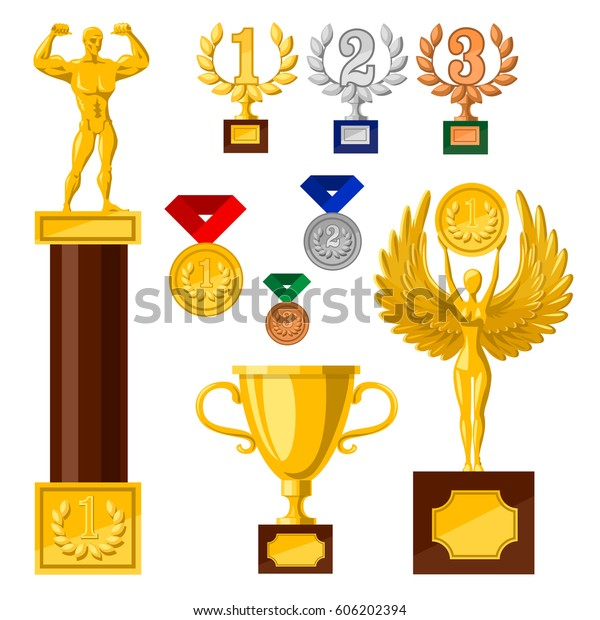 Set Awards Medals Cups Golden Statues Stock Vector (Royalty Free