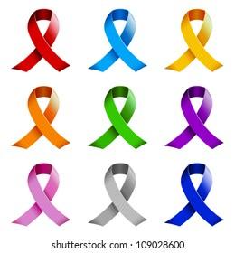 Set of awareness ribbons.