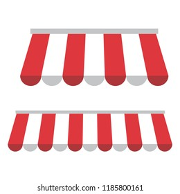 Set of awnings with red and white stripes. Vector illustration