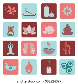 Set ayurveda icons. Vector illustration. Ayurveda logos isolated. Design elements for ayurveda center, yoga studio, spa center. Ayurveda sticker. Beauty icons set