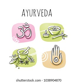 Set of ayurveda and wellness symbols. Hand drawn cartoon sketch vector illustration, marker style coloring  on tiles.