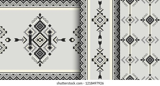 Set of Aztec geometric patterns. Native American, Indian Southwest print. Ethnic design wallpaper, fabric, cover, textile, weave, wrapping.