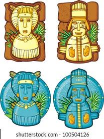 Set of aztecs masks