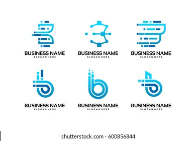 set of B initial logo technology in blue color template