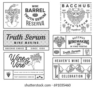 Set B of wine badges and icons for any use black on white