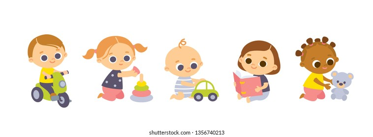 Set of babies cartoon characters. International babies playing with toys.