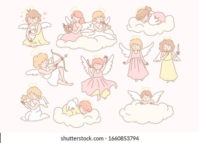 Set of baby angels cupidon concept. Group of little baby, kids with wings on clouds. Collection of happy childs angels with trumpet, bow, arrow, harp, trumpet, star. Valentines day. Simple flat vector