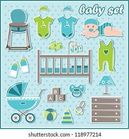 Set of baby boy things. vector