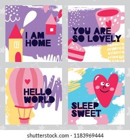 Set baby card heart world home sweet kid