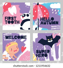 Set of baby cards, first tooth, panda, autumn, umbrella, kid, welcome, super hero, bat, heart