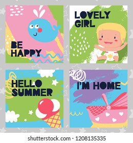Set baby cards happy, kid, summer, home, ice cream, whale, stroller