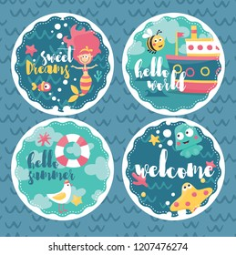 Set baby cards marine, mermaid, boat, hello, sweet, welcome, bee, ship, seagull, octopus, Stingray