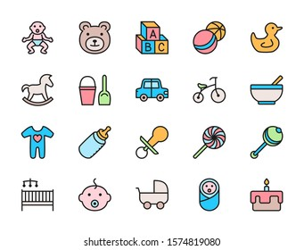 Set of Baby and Childhood Flat Color Icons. Toys, Bicycle, Nipple, Stroller and more.