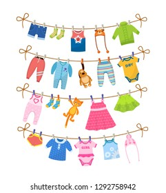 Set of baby clothes for children. Drying children's clothes after washing on a rope. Shorts, socks, baby t-shirt, hats, sweaters, pants, sliders, toys, body, dress, skirts, blouse. Vector cartoon.