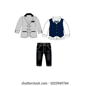 Set of baby clothes design template,collection of party suit set,Suit white shirt and waistcoat have a bow tie and jean pants.