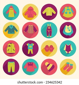 Set of Baby cute clothes collection flat icons - Illustration