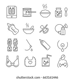 Set of baby food Related Vector Line Icons. Includes such Icons as boobs, milk, bra, breast, baby, newborn baby, bottle, porridge, baby food, bib, juice