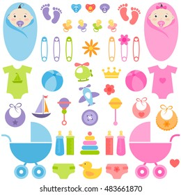 set of baby girl and boy elements