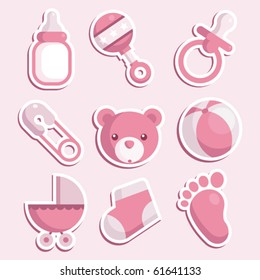 Set of baby girl icons