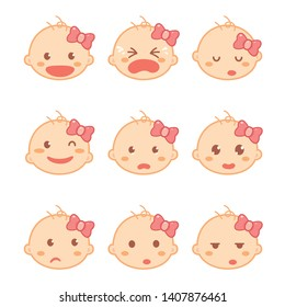 Set of baby girl or toddler emotions in flat design cartoon character. Baby development and milestones.