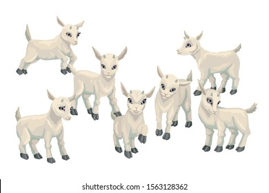 Set of baby goat cubs. Farm animals Hand drawn cute small goat. Cartoon vector illustration isolated on white background