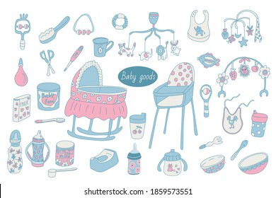 Set of baby goods or stuff. Bottle, rattle, sippy cup, teether, fork, hairbrush, nail scissors, bib, formula, high chair, thermometer, bassinet, potty, bowl. Vector color doodle isolated equipment.