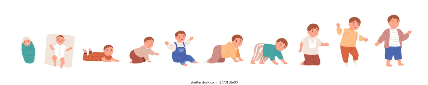 Set of baby growth process, newborn, toddler development. Early childhood, child evolution progress, sitting, crawling, growing up boy in flat cartoon vector illustration isolated on white background