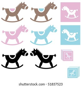 Set of baby horse toy blue and pink