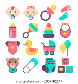 Set of baby icons in flat stile. Could be used for cards, banners, patterns, wrapping paper, web. Vector illustration