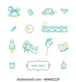 Set of baby icons in trendy linear style. Vector symbols of childhood. Modern set of line elements.