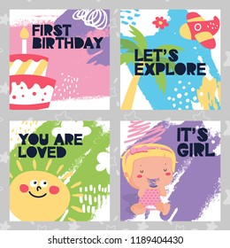 Set of baby kid cards birthday plane, sun, fun, girl