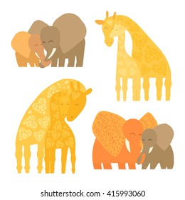 Set of Baby and Mommy Animals isolated on white. Mother's hugs. Cute elephants and giraffes - moms and kids.