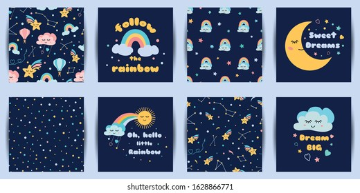 Set of baby night cards seamless patterns Cute cartoon characters Dream phrases Dark night